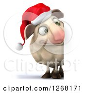 Clipart Of A 3d Happy Christmas Sheep Looking Around A Sign Royalty Free Illustration by Julos