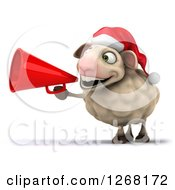 Clipart Of A 3d Happy Christmas Sheep Making An Announcement With A Megaphone Royalty Free Illustration by Julos