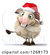 Clipart Of A 3d Happy Christmas Sheep Pointing With A Hoof Royalty Free Illustration by Julos