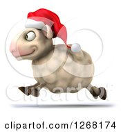 Clipart Of A 3d Happy Christmas Sheep Running To The Left Royalty Free Illustration by Julos