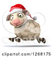Clipart Of A 3d Happy Christmas Sheep Running To The Left 2 Royalty Free Illustration by Julos