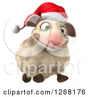 Clipart Of A 3d Happy Christmas Sheep Running Forward Royalty Free Illustration by Julos