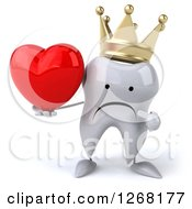 Clipart Of A 3d Unhappy Crowned Tooth Character Holding A Heart Royalty Free Illustration by Julos