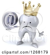 Clipart Of A 3d Unhappy Crowned Tooth Character Holding An Email Arobase Symbol Royalty Free Illustration by Julos