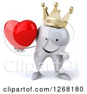 Clipart Of A 3d Happy Crowned Tooth Character Holding And Pointing To A Heart Royalty Free Illustration by Julos