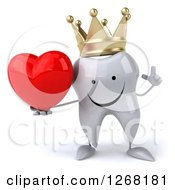 Clipart Of A 3d Happy Crowned Tooth Character Holding Up A Finger And A Heart Royalty Free Illustration by Julos