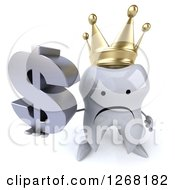 Clipart Of A 3d Unhappy Crowned Tooth Character Holding Up A Dollar Symbol Royalty Free Illustration by Julos