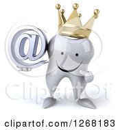 Clipart Of A 3d Happy Crowned Tooth Character Holding And Pointing To An Email Arobase Symbol Royalty Free Illustration by Julos