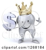 Clipart Of A 3d Happy Crowned Tooth Character Holding A Dollar Symbol Royalty Free Illustration by Julos
