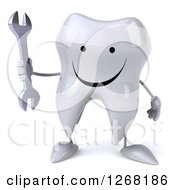Clipart Of A 3d Happy Tooth Character Holding A Wrench Royalty Free Illustration by Julos