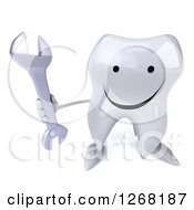 Clipart Of A 3d Happy Tooth Character Holding Up A Wrench Royalty Free Illustration by Julos