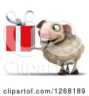 Clipart Of A 3d Sheep Holding Up A Red Gift Royalty Free Illustration by Julos