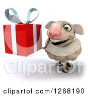 Clipart Of A 3d Sheep Holding Up A Red Present Royalty Free Illustration by Julos