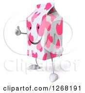 Clipart Of A 3d Pink Spotted Strawberry Milk Carton Character Holding A Thumb Up Royalty Free Illustration