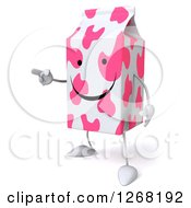 Clipart Of A 3d Pink Spotted Strawberry Milk Carton Character Pointing Royalty Free Illustration