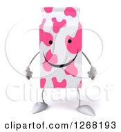 3d Pink Spotted Strawberry Milk Carton Character