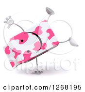 Clipart Of A 3d Pink Spotted Strawberry Milk Carton Character Cartwheeling Royalty Free Illustration