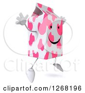 Clipart Of A 3d Pink Spotted Strawberry Milk Carton Character Jumping Royalty Free Illustration by Julos