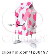 Clipart Of A 3d Pink Spotted Strawberry Milk Carton Character Presenting Royalty Free Illustration