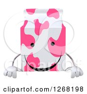 Clipart Of A 3d Pink Spotted Strawberry Milk Carton Character Over A Sign Royalty Free Illustration