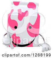 Clipart Of A 3d Pink Spotted Strawberry Milk Carton Character Pointing Down Over A Sign Royalty Free Illustration