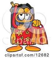 Clipart Picture Of A Suitcase Cartoon Character In Orange And Red Snorkel Gear by Toons4Biz