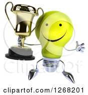 Clipart Of A 3d Happy Yellow Light Bulb Character Jumping Holding A Trophy Royalty Free Illustration