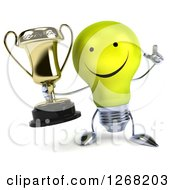 Clipart Of A 3d Happy Yellow Light Bulb Character Holding Up A Finger And A Trophy Royalty Free Illustration