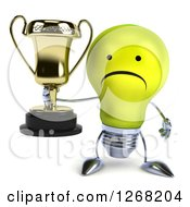 Clipart Of A 3d Unhappy Yellow Light Bulb Character Holding A Trophy Royalty Free Illustration