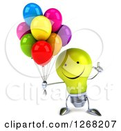Clipart Of A 3d Happy Yellow Light Bulb Character Holding Up A Finger And Balloons Royalty Free Illustration by Julos