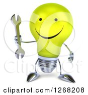 Clipart Of A 3d Happy Yellow Light Bulb Character Holding A Wrench Royalty Free Illustration by Julos