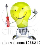Clipart Of A 3d Happy Yellow Light Bulb Character Holding Up A Finger And A Screwdriver Royalty Free Illustration by Julos