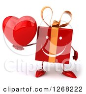 Clipart Of A 3d Red Yellow Gift Chacter Holding A Heart Royalty Free Illustration