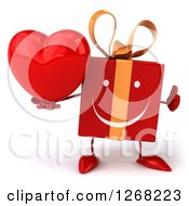 Clipart Of A 3d Red Yellow Gift Chacter Holding A Heart And Thumb Up Royalty Free Illustration