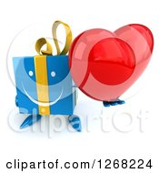 Clipart Of A 3d Blue Yellow Gift Chacter Holding Up A Heart Royalty Free Illustration