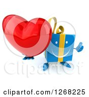Clipart Of A 3d Blue Yellow Gift Chacter Holding A Heart And Thumb Up Royalty Free Illustration