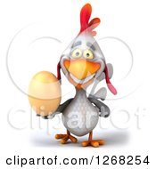 Clipart Of A 3d White Chicken Walking With An Egg Royalty Free Illustration