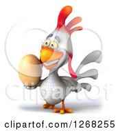Clipart Of A 3d White Chicken Walking With An Egg 2 Royalty Free Illustration
