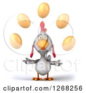 Clipart Of A 3d White Chicken Juggling Eggs Royalty Free Illustration