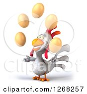 Clipart Of A 3d White Chicken Juggling Eggs 2 Royalty Free Illustration