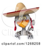 3d White Mexican Chicken Wearing A Sombrero And Pointing Down Over A Sign