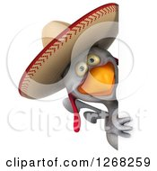 Clipart Of A 3d White Mexican Chicken Wearing A Sombrero Around A Sign Royalty Free Illustration by Julos