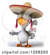 Clipart Of A 3d Presenting White Mexican Chicken Wearing A Sombrero Royalty Free Illustration by Julos