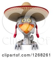 Clipart Of A 3d White Mexican Chicken Wearing A Sombrero Over A Sign Royalty Free Illustration by Julos