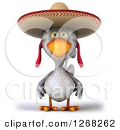 Clipart Of A 3d White Mexican Chicken Wearing A Sombrero Royalty Free Illustration by Julos