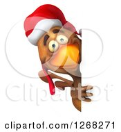 Clipart Of A 3d Brown Christmas Chicken Looking Around A Sign Royalty Free Vector Illustration