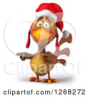 Clipart Of A 3d Brown Christmas Chicken Pointing Royalty Free Vector Illustration