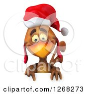 Clipart Of A 3d Brown Christmas Chicken Pointing Down To A Sign Royalty Free Vector Illustration