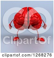 Clipart Of A 3d Red Brain Character Standing Over Gray Royalty Free Illustration