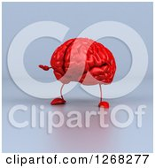 Clipart Of A 3d Red Brain Character Presenting Over Gray Royalty Free Illustration